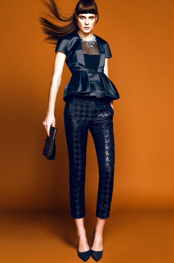 A black-on-black print offers the same simple elegance as a satin or tuxedo pant.