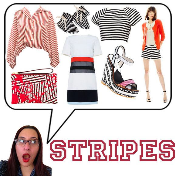 Nanette Lepore Striped Top, Nature Baby for J.Crew Booties, Alice + Olivia Connely Striped Crop Top, Joe Fresh Striped Short, Sophia Webster Lucita Canvas Braided Wedge Sandals, ROMWE Color Block Striped White Dress, Henri Bendel Disturbed Stripe Pancake Pouch