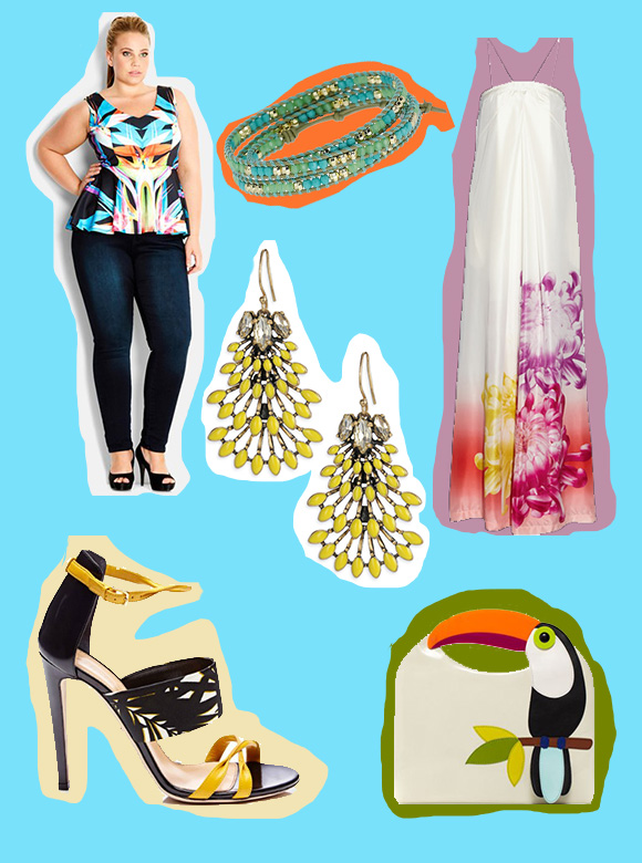 tropical, city chic, paradise, wanderlust, Stella & Dot, S&D, Nora, sergio rossi, kate spade, tucan, DVF, annie, maxi, summer
