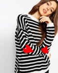 ASOS Sweater in Stripe With Intarsia Heart Elbow Patch, Get Dressed Mommy